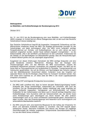 Stellungnahme Mobilitäts- und Kraftstoffstrategie - Deutsches ...