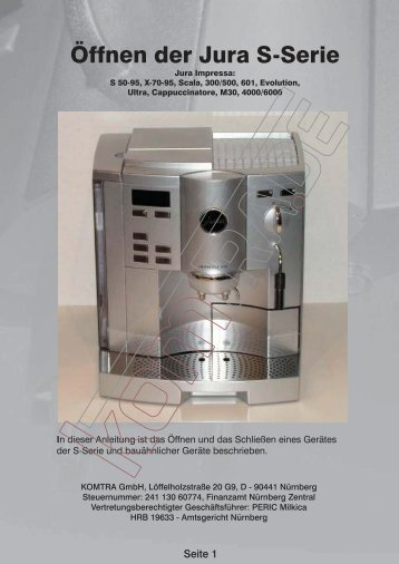 Öffnen der Jura S-Serie - KOMTRA GmbH