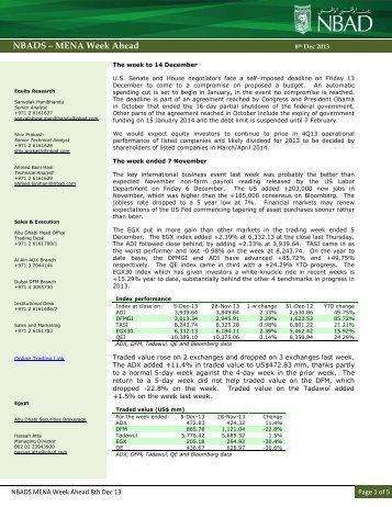 MENA Week Ahead 08 Dec 13 - National Bank of Abu Dhabi