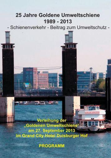25 Jahre Goldene Umweltschiene 1989 - 2013 - BF Bahnen