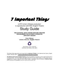 7 Important Things Study guide - National Arts Centre