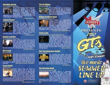 GTs 2012 Band Line Up PDF Document. - GT's Beach Bar and Grill