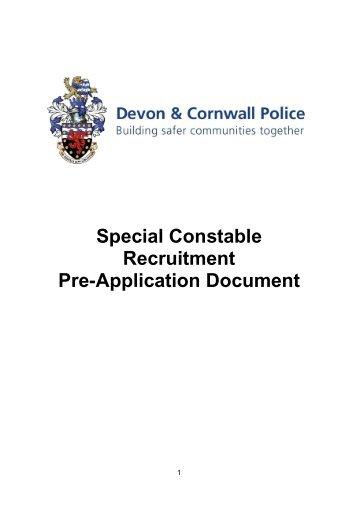 Special Constable Pre Application Document - Devon & Cornwall ...