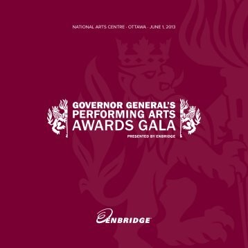 2013 Gala program - Governor General's Performing Arts Awards
