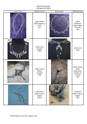 Bijouterie Artisanale Catalogue des Colliers Pierres dispo ... - Cjoint