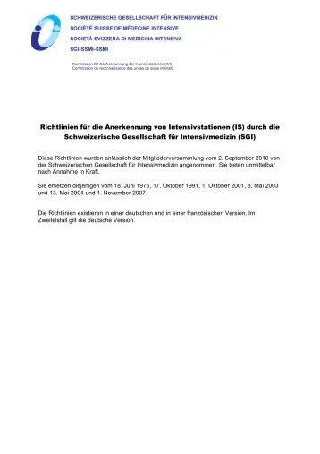 Richtlinien für die Anerkennung von Intensivstationen (IS ... - SGI