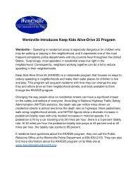 Keep Kids Alive-Drive 25 Program - The City of Wentzville | Missouri
