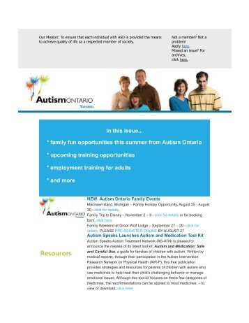In this issue... * family fun opportunities this summer ... - Autism Ontario