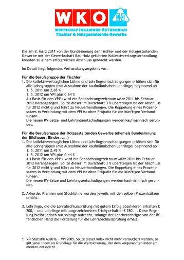 Die am 8. März 2011 von der Bundesinnung der Tischler und der ...