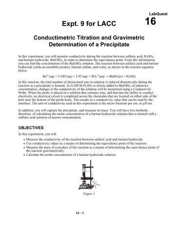 conductimetric titration and gravimetric determination of a precipitate essay