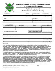 2013-2014 Participation Form - Northside Baseball Academy