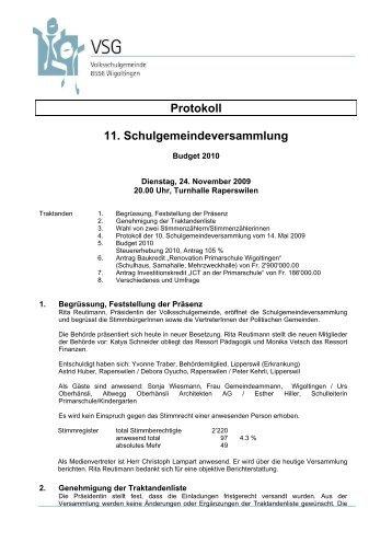 24. November 2009 - Volksschulgemeinde Wigoltingen