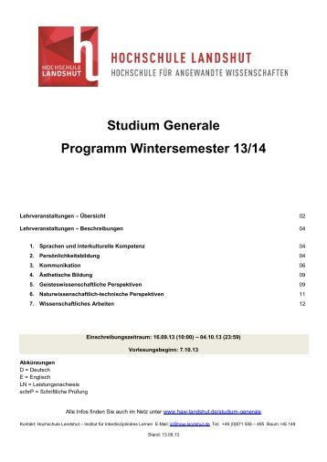 Studium Generale Programm Wintersemester 13/14 - Hochschule ...