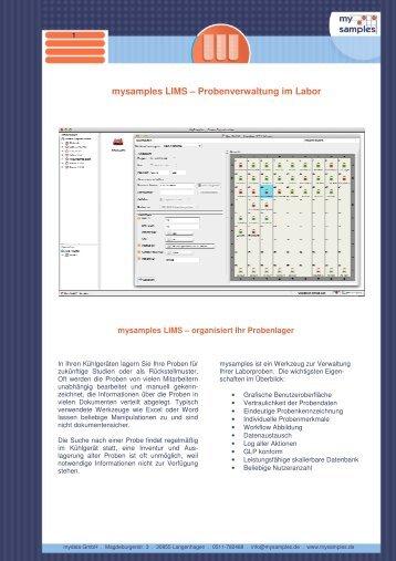 mysamples LIMS – Probenverwaltung im Labor