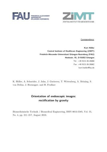 Orientation of endoscopic images: rectification by gravity