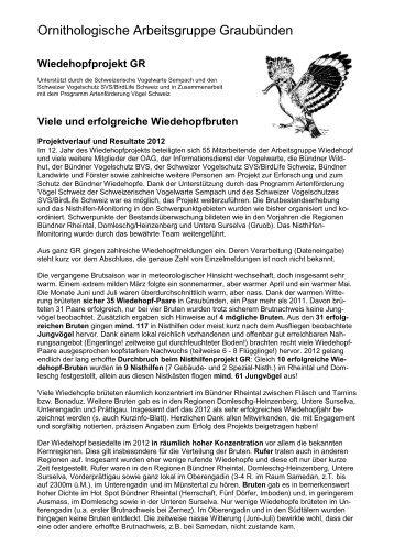 Ornithologische Arbeitsgruppe Graubünden - Bündner Naturmuseum