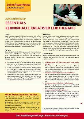 essentials kerninhalte kreativer leibtherapie - Zukunftswerkstatt ...