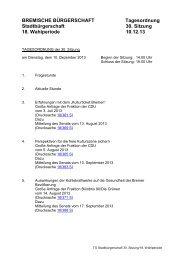 Vorläufiger Ablaufplan - Bremische Bürgerschaft