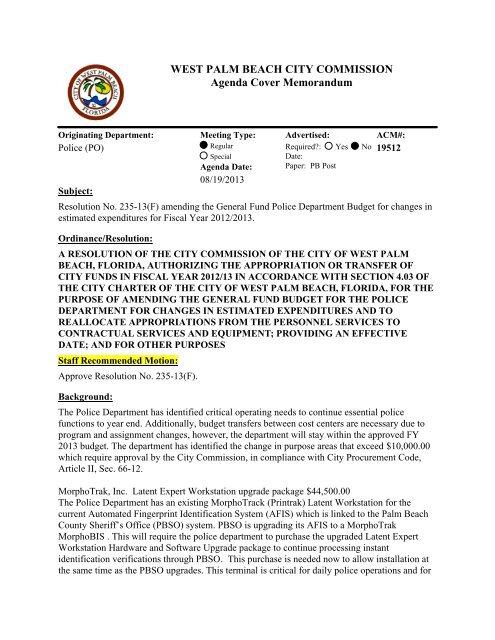 Agenda Cover Memorandum for 08/ - City of West Palm Beach
