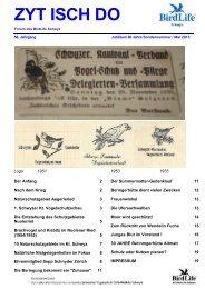 Sonderausgabe 80 Jahre Mai/2013 - BirdLife Schwyz