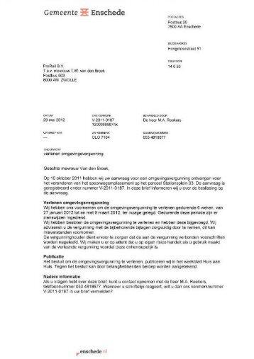 Enschede - Definitieve beschikking revisie - ProRail