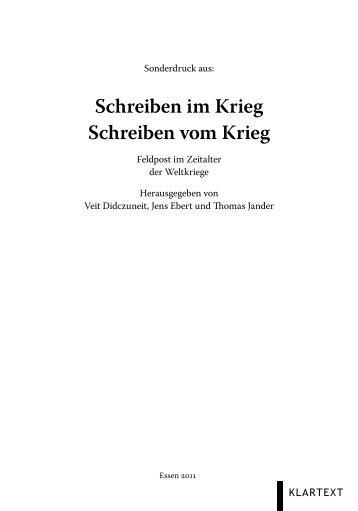 Schreiben im Krieg Schreiben vom Krieg - Universidade de ...