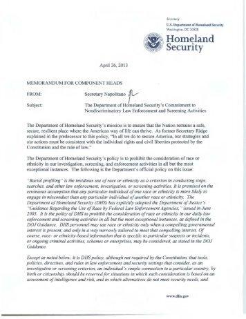 Secretary Memo on Race Neutrality - Homeland Security