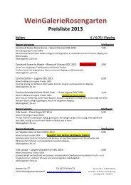 Spanien € / 0,75 l Flasche - WeinGalerieRosengarten