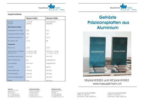 Gefräste Präzisionsplatten aus Aluminium - Häuselmann Metall GmbH