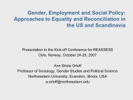 Gender, Employment and Social Policy: Approaches to ... - Nova