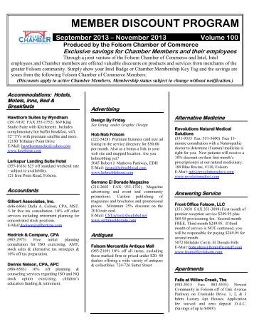 MEMBER DISCOUNT PROGRAM - Folsom Chamber of Commerce