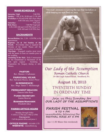 August 18, 2013 - Our Lady of the Assumption