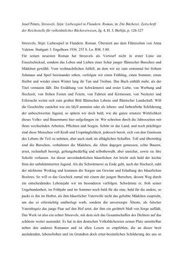 Josef Peters, Streuvels, Stijn: Liebesspiel in Flandern