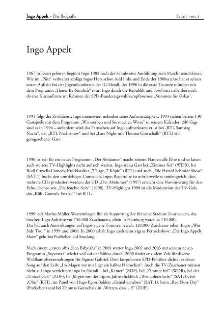 Download Lebenslauf Fließtext Als Pdf Datei Appelt Ingo