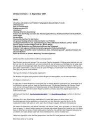 Drittes Interview – 5. September 2007 - Fridolin Trüb