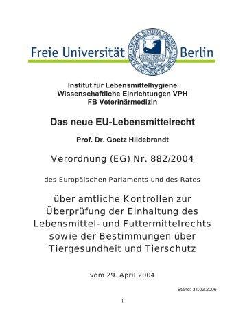Nr. 882/2004 - Fachbereich Veterinärmedizin an der Freien ...