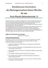 Physik, IC - Mariengymnasium Essen Werden