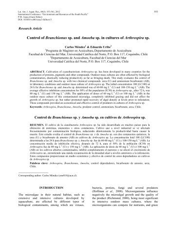 Control of Branchionus sp. and Amoeba sp. in cultures of Arthrospira ...