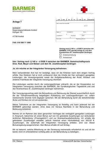 anlage t behandlungsvertrag in der gtk krefeld - Behandlungsvertrag Muster