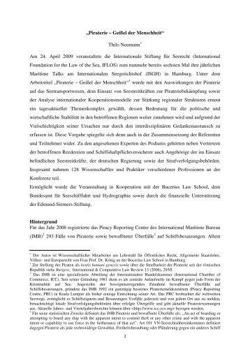 """1 """"Piraterie – Geißel der Menschheit"""" Thilo Neumann ... - IFLOS.ORG"""