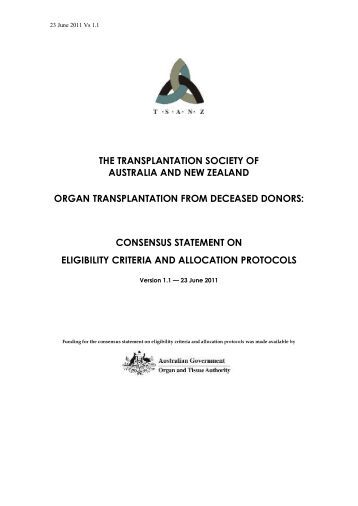 clinical guidelines for organ transplantation from deceased donors