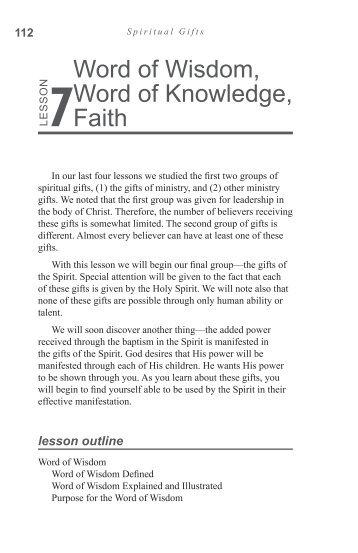Word of Wisdom, Word of Knowledge, Faith - GlobalReach.org