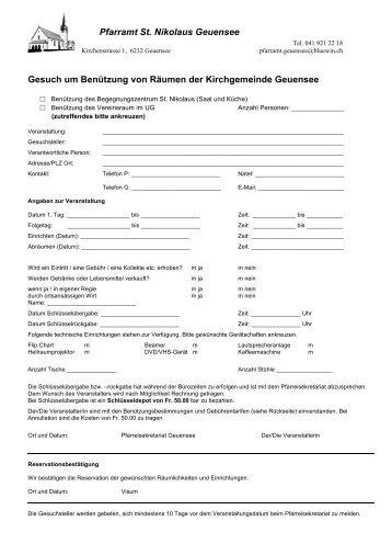 Formular Gesuch Begegnungszentrum - Pfarrei Geuensee