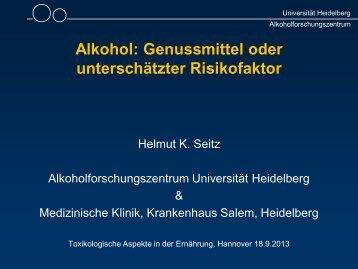 Alkohol: Genussmittel oder unterschätzter Risikofaktor - DGE ...