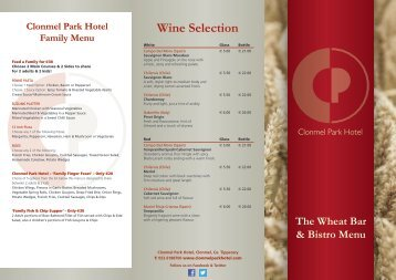 Wine Selection - Clonmel Park Hotel