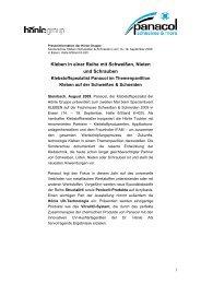 Presse Info Schweissen und Schneiden - Panacol