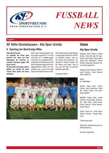 SF H ¨ohr-Grenzhausen - Ata Spor Urmitz G¨aste - SportFreunde ...