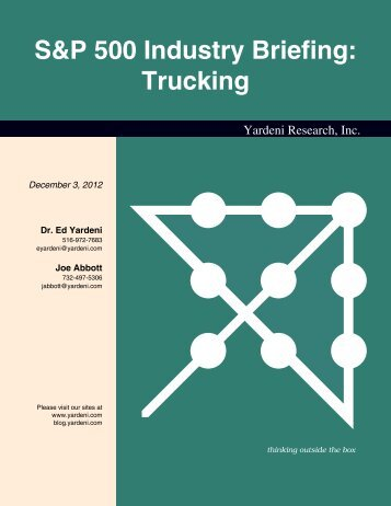 S&P 500 Industry Briefing: Trucking - Dr. Ed Yardeni's Economics ...
