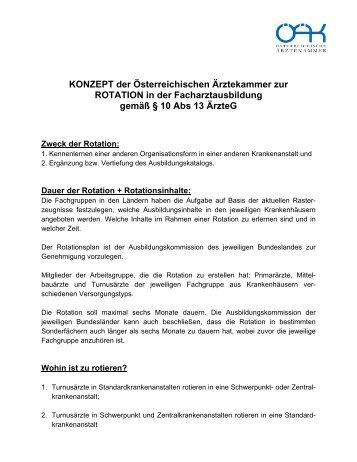 KONZEPT der Österreichischen Ärztekammer zur ROTATION in der ...