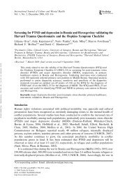 Screening for PTSD and depression in Bosnia and Herzegovina ...